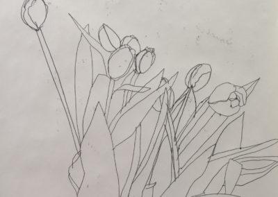 Monotypes et Tulipes